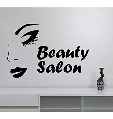 Salón De Belleza, Adhesivo De Pared, Aplique De Vinilo, Rostro De Mujer, Art Deco, Tienda De Salón De Belleza, Ventana, Espejo, Decoración 63Cmx42Cm