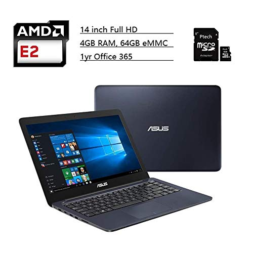 """ASUS Laptop 14"""" Full HD, AMD Dual Core E2-7015 1.5GHz Processor, AMD Radeon R2 Graphics, 4GB RAM, 64GB EMMC, Windows 10 S with 1yr Office 365 Included, Dark Blue + Ptech 16GB Micro SD Card"""