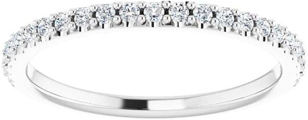 Solid 14k White Gold 1/4Cttw Diamond Curved Notched Wedding Band for 7x5mm Emerald Ring Guard Enhancer - Size 7 (.25 Cttw)