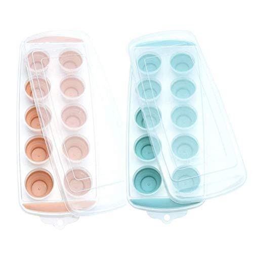 Molde, paquete de 2 bandejas de cubitos de hielo de base suave bandeja de cubitos de hielo con cubierta de cocina molde de cubitos de hielo
