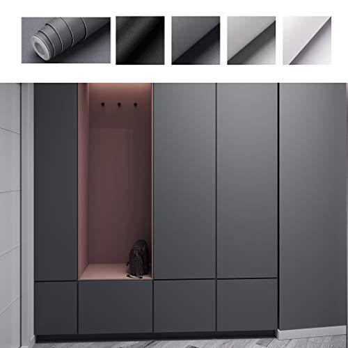 PROHOUS Verdickte Klebefolie Selbstklebende Möbelaufkleber DIY Matte Möbelfolie 0.61 * 5M aus PVC Küchenschrank Schneidbar Folie Dunkelgrau Dekorfolie für Möbel Küche Schrank