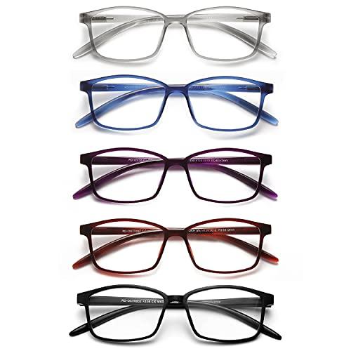 SKYWAY Feder Scharnier (5 Pack) Lesebrillen Sehhilfe Augenoptik Brille Lesehilfe für Damen Herren (0.0x Dioptrien)