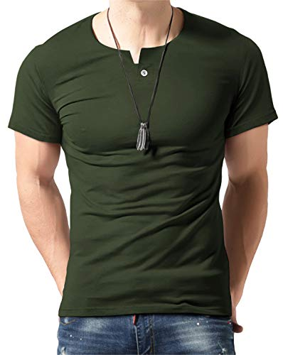 Aiyino Men's Summer Casual Slim Fit Single Button Short Sleeve Placket Plain Henley Top T Shirts 2XL-Army Green