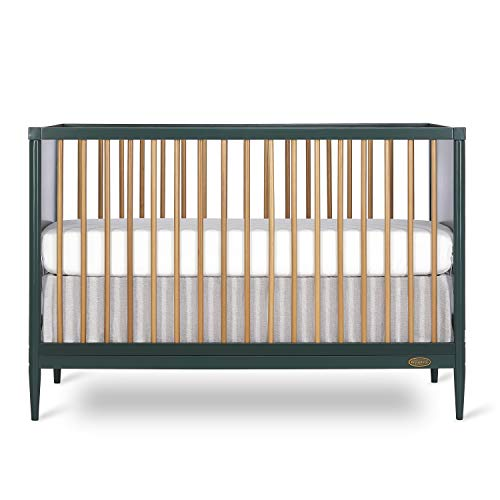 Dream On Me Clover 4-in-1 Modern Island Crib with Rounded Spindles I Convertible Crib I Mid- Century Meets Modern I Coordinates with The Clover Changing Table, Olive