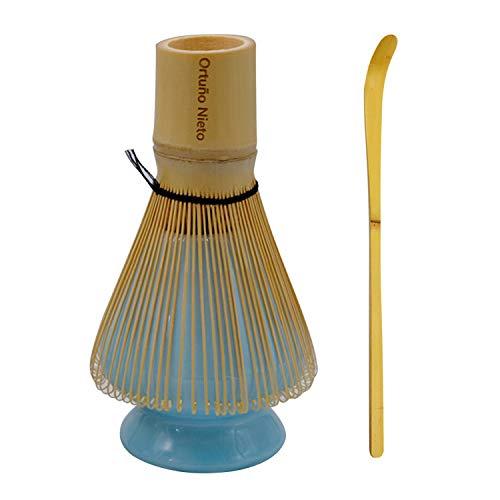 Frullino Matcha Set Frullino in bambù + Scoop in bambù + Porta Frusta in Ceramica per La Tradizionale Cerimonia del tè Giapponese