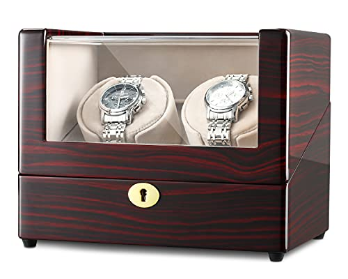 CHIYODA Cajas Giratorias para 2 Relojes, Watch Winder con Motor Silencioso y Pantalla LCD Táctil Digital