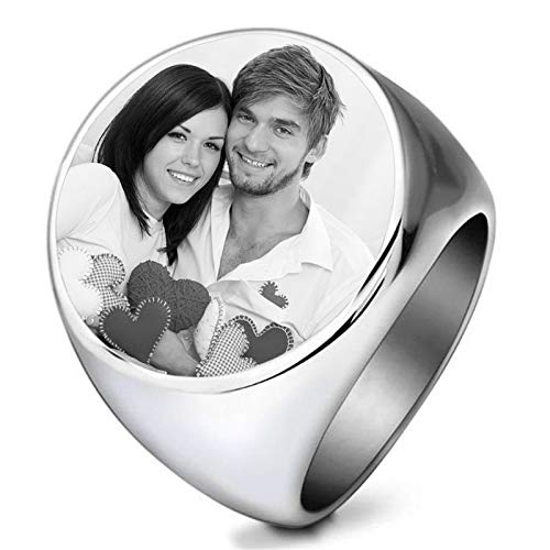 Anillo de foto personalizado Anillo de foto en blanco y negro Anillo de acero de titanio Anillo de confesión para hombre(Plata 20.75)