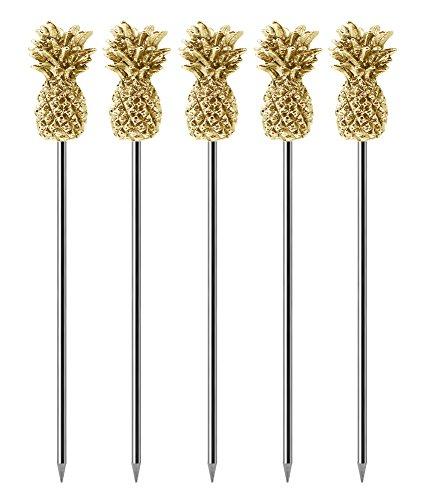 Set di 5 stecchini da cocktail in acciaio inox riutilizzabili con decorazione a forma di ananas, color oro