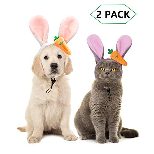 CooShou 2 Pieces Dog Easter Carrot Bunny Ears Headband Puppy Dog Easter Party Costume Rabbit Ears Headwear for Pet Dogs Cats Easter Dog Cat Headband Costume