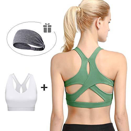 LOGYIO Sport-BHS für Frauen, gepolstertes, schlagfestes, drahtloses Netzunterhemd für Yoga Workout Fitness (2er-Pack),C,XL