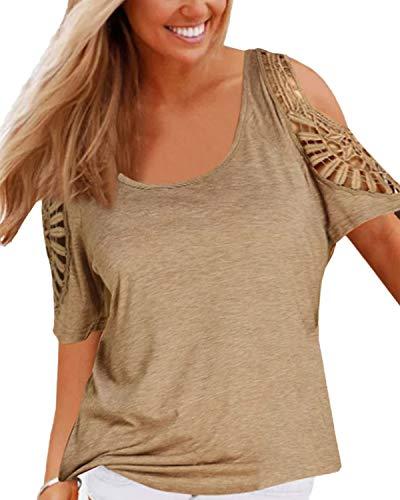 YOINS - Camiseta de manga corta para mujer, diseño sexy caqui S