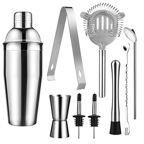 duoledaeu Cocktail Shaker Set 9 Teilig 750ML Cocktailshaker Edelstahl Bartending Kit Cocktail Bar Set Professionelle Martini Mixing Barkeeper Kit