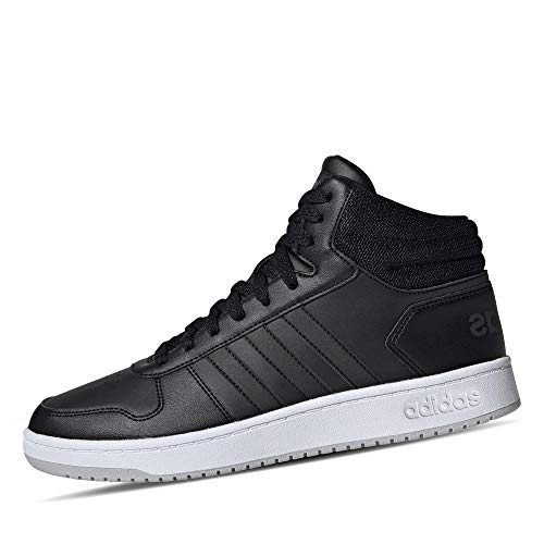 adidas Mens Hoops 2.0 Mid Sneaker, Core Black/Core Black/Grey, 44 EU