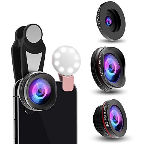 スマホ用カメラレンズ クリップ式レンズ 0.6倍広角レンズ 15倍マクロレンズ 198°魚眼レンズ 高画質カメラレンズキット 自撮り ワイド 接写 スマホ用カメラレンズセット iphone Xperia Android全機種対応 簡単装着 携帯レンズ 3in1 二年保証 (広角+マクロ+魚眼)