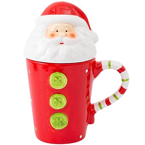 Taza de cerámica de Papá Noel de Navidad con tapa Taza de cerámica de la serie de Papá Noel fina impresa en 3D de Navidad...