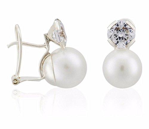 Córdoba Jewels | Pendientes en plata de Ley 925, perla de cultivo natural y Zirconita. Diseño Tú y Yo Zirconium perla de cultivo natural