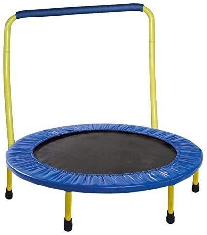 JumJoe - Cama elástica para niños de 36 pulgadas, con barra de asa, seguridad, portátil, color amarillo