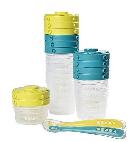 BÉABA - Juego de 12 Tarritos de Conservación y 2 Cucharas de Silicona - Recipientes apilables y con clip - 100 % herméticos con Graduación - Congelación - 2x60 ml & 4x120 ml & 6x200 ml - Azul