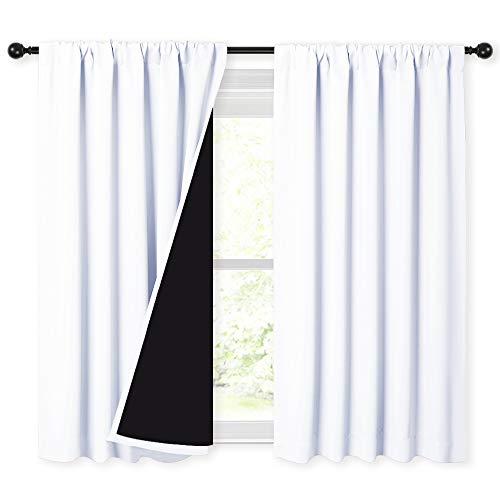 NICETOWN White 100% Blackout Curtains 45 inches Long, Rod Pocket Basement Completely Blackout Window Treatment Thermal Insulated Lined Drapes for Small Window (1 Pair, 52 inches Width Each Panel)