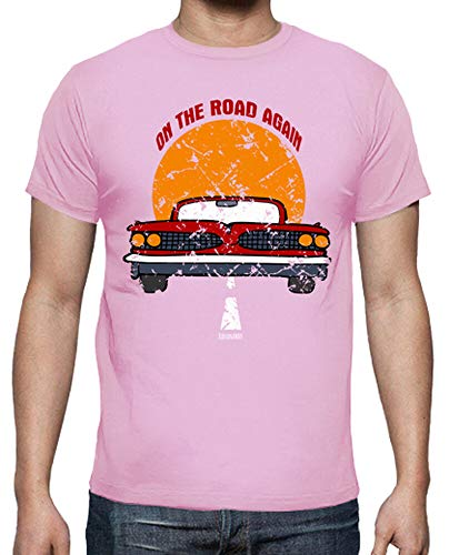 latostadora - Camiseta On The Road Again para Hombre Rosa M
