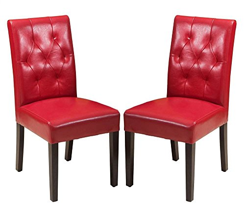 Gentry Bonded Leather Dining Chair - Set of 2 (Red)