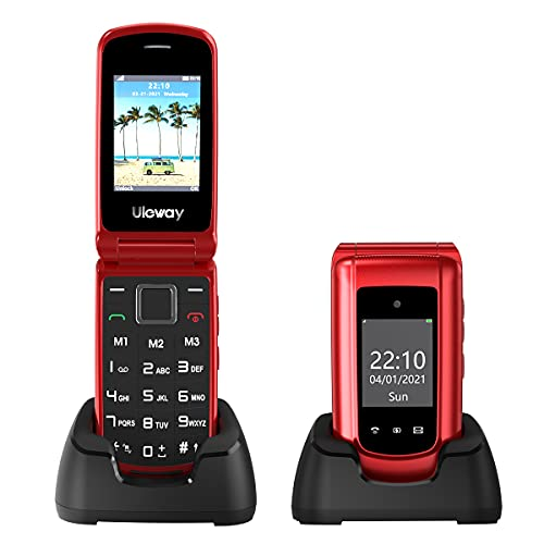 Uleway Teléfono Móvil con Tapa para Personas Mayores con Teclas Grandes, Telefonos Basicos con Pantalla de 2.4 Pulgadas Botón SOS, Cámara, Fácil de Usar para Ancianos (3G-Rojo)