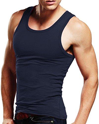 MODCHOK Herren Tank Shirt Tank Top Unterhemd Muskelshirt Achselshirt Ärmellos Stringer Classics Fitness 1 Dunkelblau L