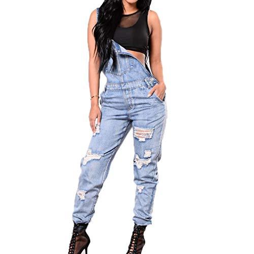 Damen Jeans Latzhosen Zerissene Löcher Festival Vintage Mode Jumpsuit Fashion Stretch Skinny Einstellbar Straps Jeanshose Overall Blau (Color :...