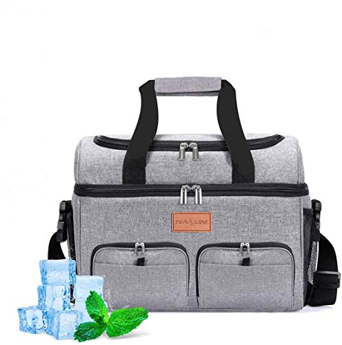 NASUM Kühltasche, Lebensmitteltasche, tragbare Kühltasche für Picknick, Outdoor-Aktivitäten, Grill/Camping/Sport/Reisen (23 l)
