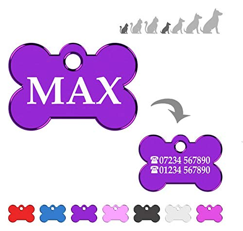 Iberiagifts - Bone ID Tag For very Small Pets like or puppies, For Dogs And Cats, Engraved And Personalised (Purpel)