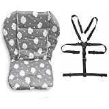 Coussin de chaise haute pour bébé - Résistant - Sangles de chaise haute (harnais 5 points) - 1 combinaison (nuages gris)
