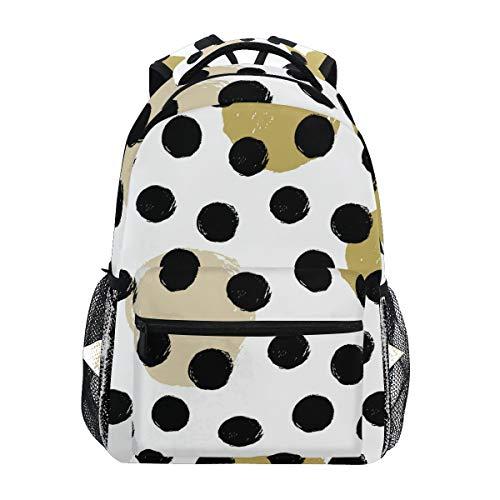 QMIN Sac à dos à motif géométrique à pois pour l'école, le voyage, le collège et le sac à dos pour ordinateur portable, la randonnée, le camping, l'organiseur pour garçons, filles, femmes, hommes