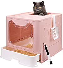 Foldable Cat Litter Box with Lid, Enclosed Cat Potty, Top Entry Anti-Splashing Cat Toilet, Easy to Clean Including Cat Litter Scoop and 2-1 Cleaning Brush(Pink)