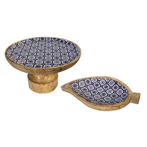Taartplatenset met voet en 1 knabber plaat blad mangohout met keramische decoratie geschikt voor levensmiddelen Kleur blauw/wit