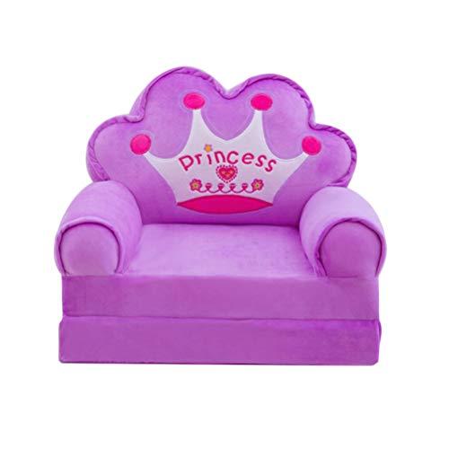 TOYMYTOY Púrpura Niños Mini Funda de Sofá Sofá Plegable Silla Funda de Cama Abatible Sofá Cama Funda de Estilo Princesa Asiento Reclinable para Niños Funda de Sillón de Sofá (Sin Relleno)