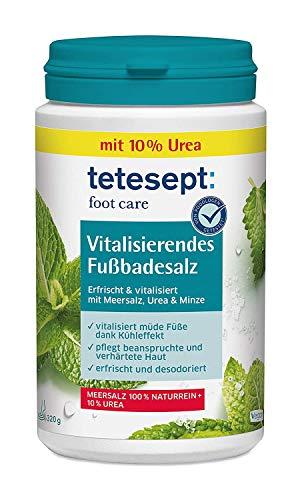 tetesept Fotvård vitaliserande fotbadsalt – fotbad tillsats med havssalt, 10% urrea och eteriska oljor – fotsalt vitaliserar trötta fötter – 1 x 320 g