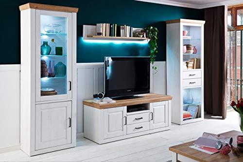 lifestyle4living Wohnwand in Weiß   Design-Schrankwand im Landhaus-Stil   Moderne Anbauwand 4-teilig, ca. 324 cm breit