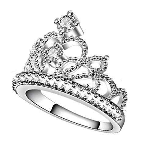 Holibanna Anéis de coroa de princesa, anéis de noivado, anel de compromisso, joias para meninas e mulheres