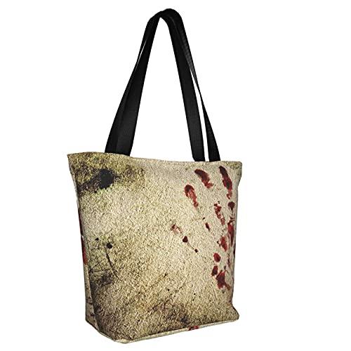 Bolsas reutilizables sucias de pared con sangre impresa a mano, para hombres y mujeres, bolso de viaje ligero para picnic, Muro sucio con mano sangrienta, Talla unica