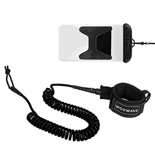 WOOWAVE SUP Leash 11 Foot Coiled Stand Up Paddle Board Surfboard Leash Stay on Board Ankle Strap with Waterproof Wallet/Phone Case (Black)