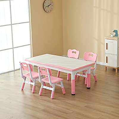 CuFun Kids Table and 4 Chairs Set, Children Study Desk, Dining Table, Height Adjustable Plastic Desk Painting Desktop Toddler Furniture for Boys and Girls (Pink) from CuFun