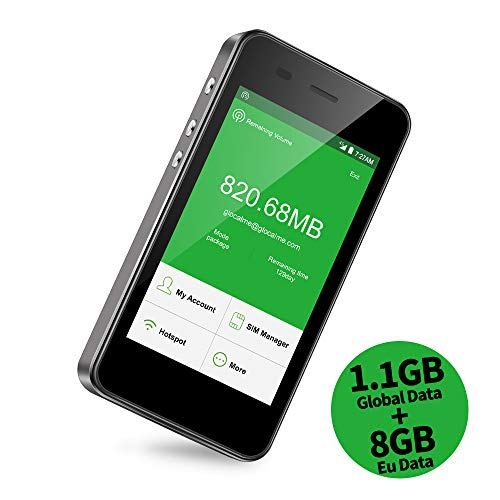 GlocalMe G3 Router Mobile 4G LTE, Global Alta velocità WiFi Portatile con 1GB di Dati Globali per Viaggiare, Internet Key Dispositivo MIFI per iPhone, Samsung, iPad, Tablet e Laptop (Nero)