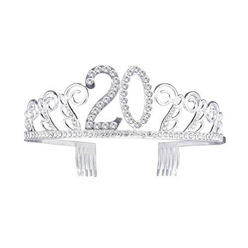 Frcolor Corona per Compleanno 20 Anni Cerchietto Diadema Principessa Donna Tiara Strass Cristallo con Pettine (Argento)