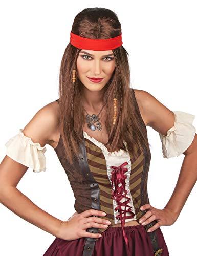 DEGUISE TOI - Perruque Pirate ou Hippie avec Bandana Adulte - Taille Unique