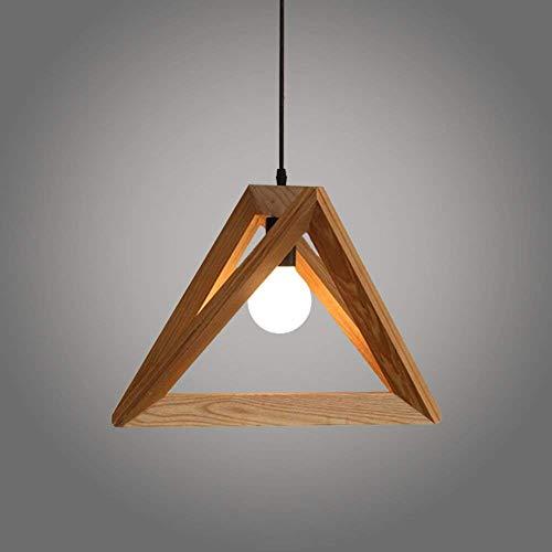Suspension Luminaire forme Triangle Design en Bois 30cm Vintage Lustre Corde Ajustable Décor Salle à Manger Chambre
