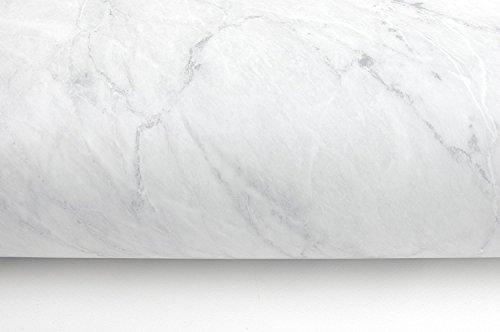 (Blanco Mate, Paquete de 2) Papel tapiz de mural autoadhesivo con acabado brillante y patrón de granito con efecto mármol. 61cm X 2M (24