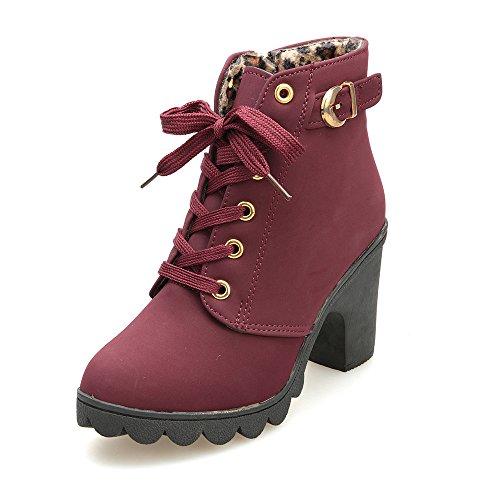 VJGOAL Damen Stiefel, Damen Mode High Heel Lace Up Stiefeletten Damen Schnalle Winter Warm Platform Wedges Schuhe (Rot, 40 EU)