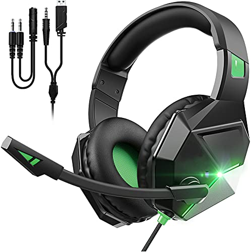 Gaming Headset for PS4, PC, Xbox One, Ultra Light Over Ear Headphones with Noise Cancelling Mic, PC Headset with Bass Surround, LED Light, Soft Memory Earmuffs for Laptop Mac Switch