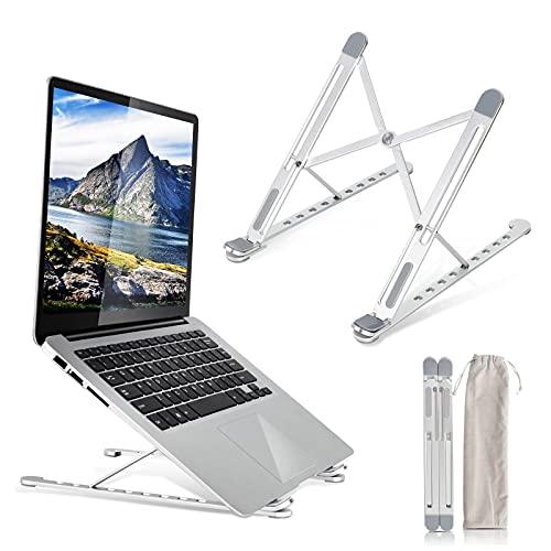 2021進化改良ノートパソコンスタンド PCスタンド 折りたたみ式 ノートpc スタンド ラップトップスタンド タブレット スタンド パソコン スタンド 8段の高さ調節可能 軽量 卓上 放熱 冷却 放熱性 17インチまで対応可能 PC MacBook ラップトップ iPad タブレット(金属) 持ち運び便利 収納袋付き