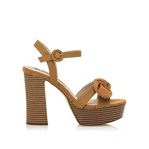 Sandalias Mujer mustang | Sandalias Amazonas 50504 | mustang Mujer | Sandalias Zapato de tacón | Cierre con Hebilla | 49213 | Marron | 40
